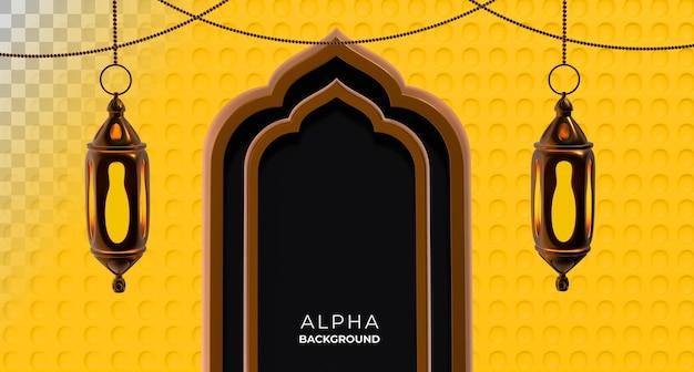 Ilustração 3d. ano novo islâmico com espaço para texto