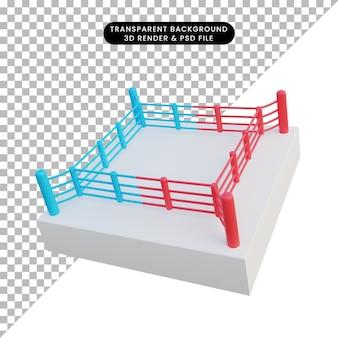 Ilustração 3d arena de boxe