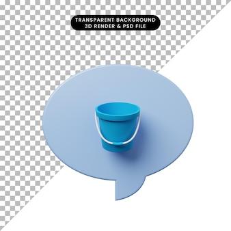 Ilustração 3d bolha de bate-papo com balde