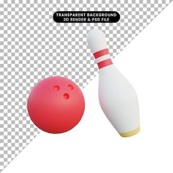 Ilustração 3d boliche bola e pino de boliche