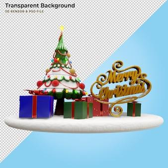 Ilustração 3d caixa de presente de feliz natal e pinheiro
