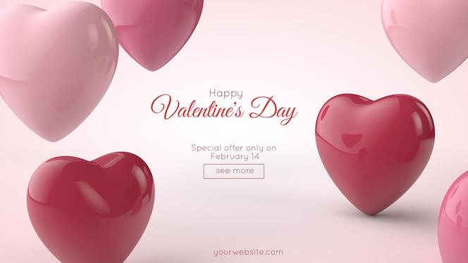ilustração 3d. cartão postal do dia dos namorados. corações rosa e vermelhos e um lugar para o seu texto.