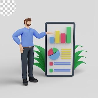 Ilustração 3d. conceito de análise de configuração