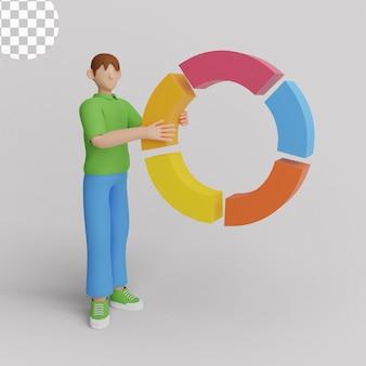 Ilustração 3d. conceito de análise de dados