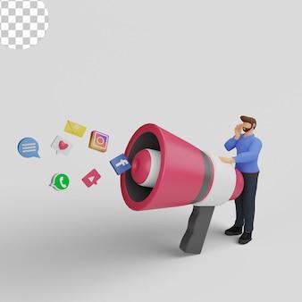 Ilustração 3d. conceito de marketing de mídia social