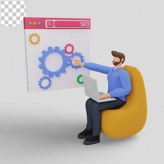 Ilustração 3d conceito de motor de busca