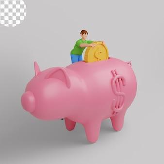 Ilustração 3d. conceito financeiro de economia de dinheiro