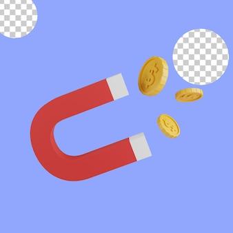 Ilustração 3d. conceito ímã atraindo dinheiro