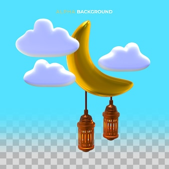 Ilustração 3d. conceito islâmico de ano novo com lanterna