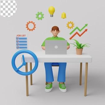 Ilustração 3d. conceito moderno de produtividade com laptop