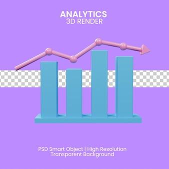 Ilustração 3d da análise do gráfico de negócios