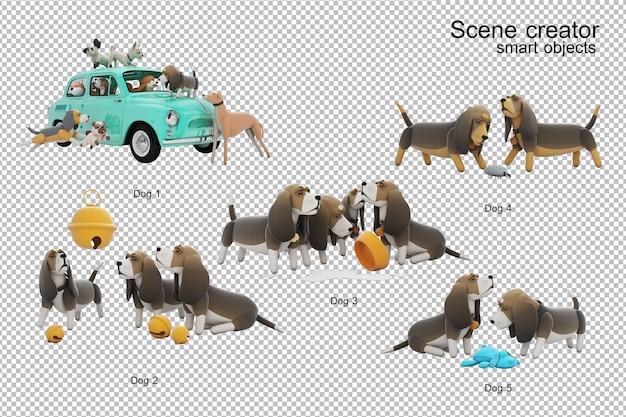 Ilustração 3d da atividade do cão isolada