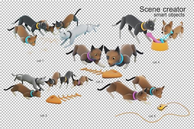 Ilustração 3d da atividade do gato