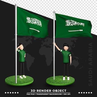 Ilustração 3d da bandeira da arábia saudita com personagem de desenho animado de pessoas fofas. renderização 3d.