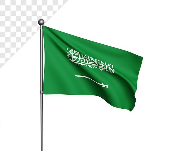 Ilustração 3d da bandeira da arábia saudita