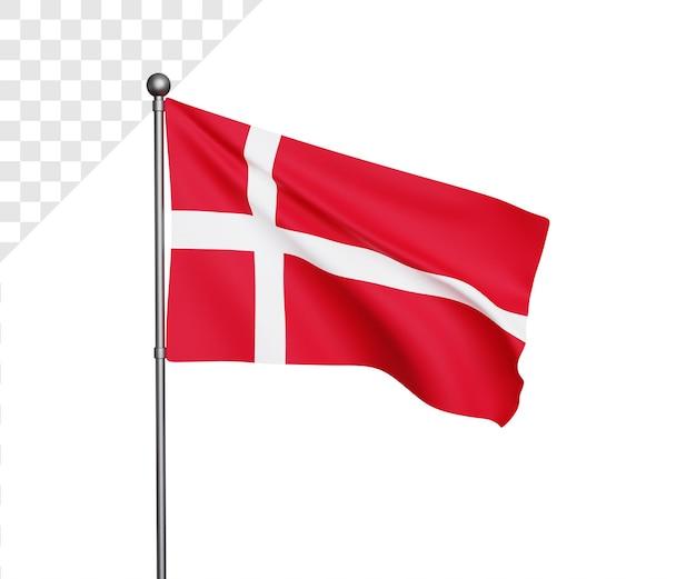 Ilustração 3d da bandeira da dinamarca