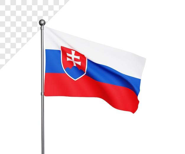 Ilustração 3d da bandeira da eslováquia