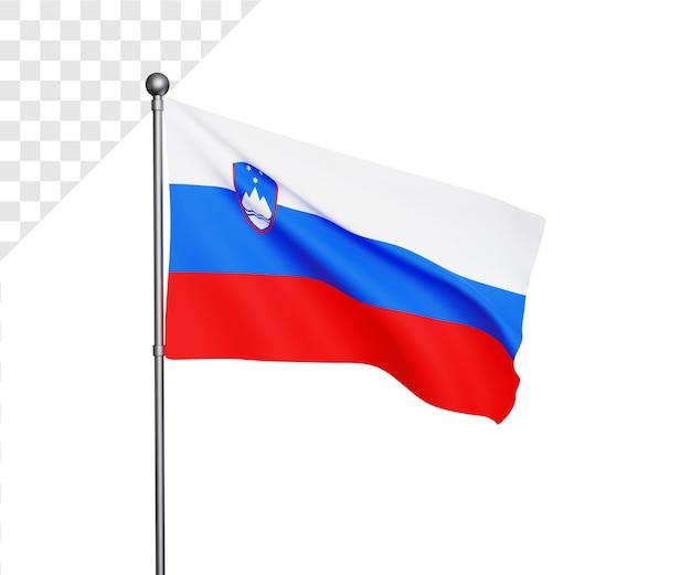 Ilustração 3d da bandeira da eslovênia