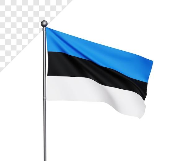Ilustração 3d da bandeira da estônia