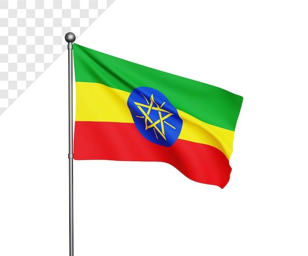 Ilustração 3d da bandeira da etiópia