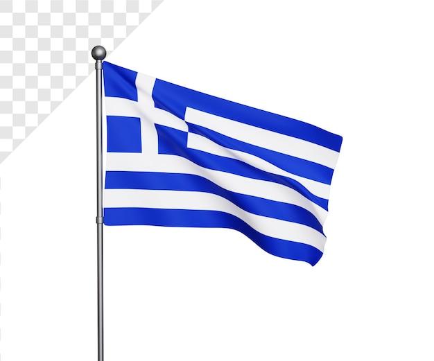 Ilustração 3d da bandeira da grécia