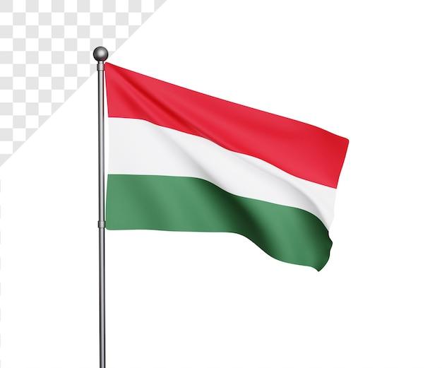 Ilustração 3d da bandeira da hungria