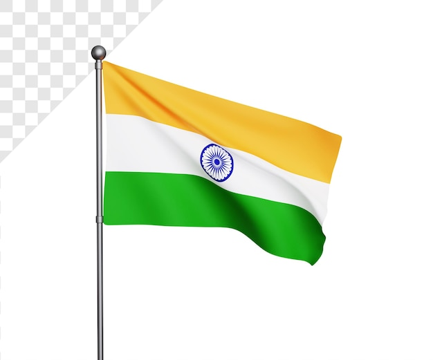 Ilustração 3d da bandeira da índia