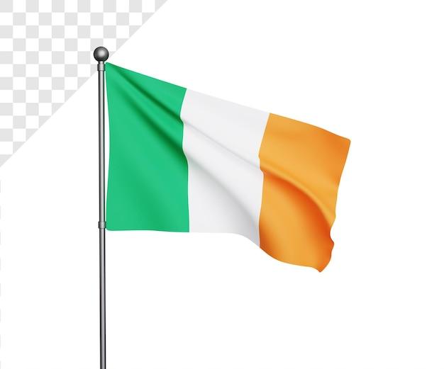 Ilustração 3d da bandeira da irlanda
