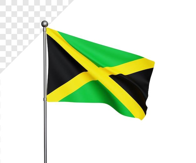 Ilustração 3d da bandeira da jamaica