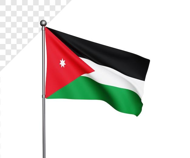 Ilustração 3d da bandeira da jordânia