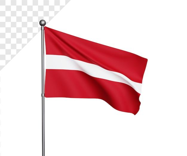 Ilustração 3d da bandeira da letônia