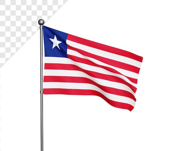 Ilustração 3d da bandeira da libéria