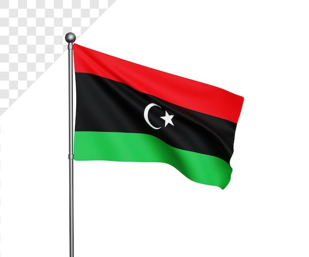 Ilustração 3d da bandeira da líbia