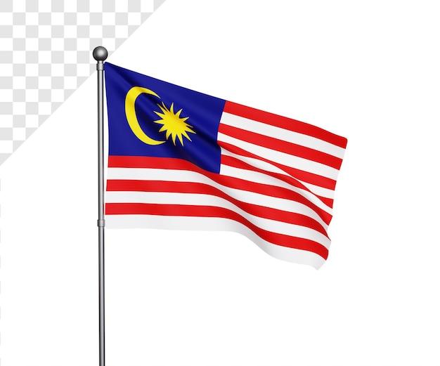 Ilustração 3d da bandeira da malásia