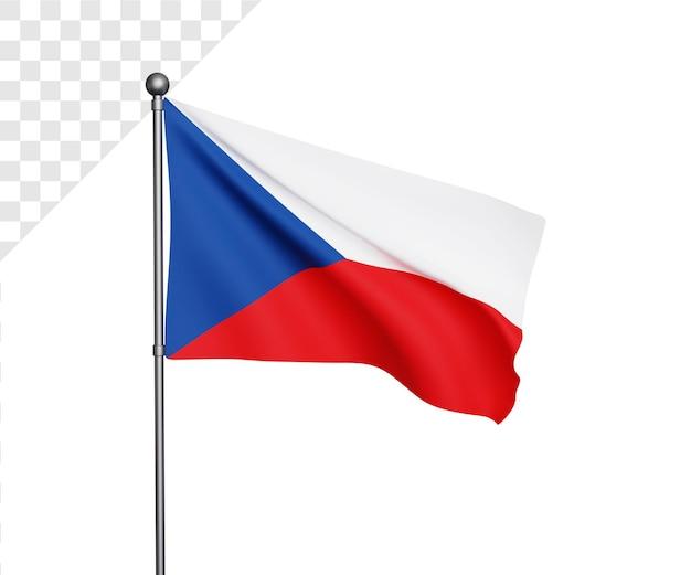 Ilustração 3d da bandeira da república checa