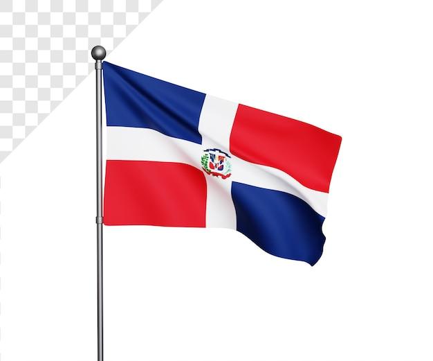Ilustração 3d da bandeira da república dominicana