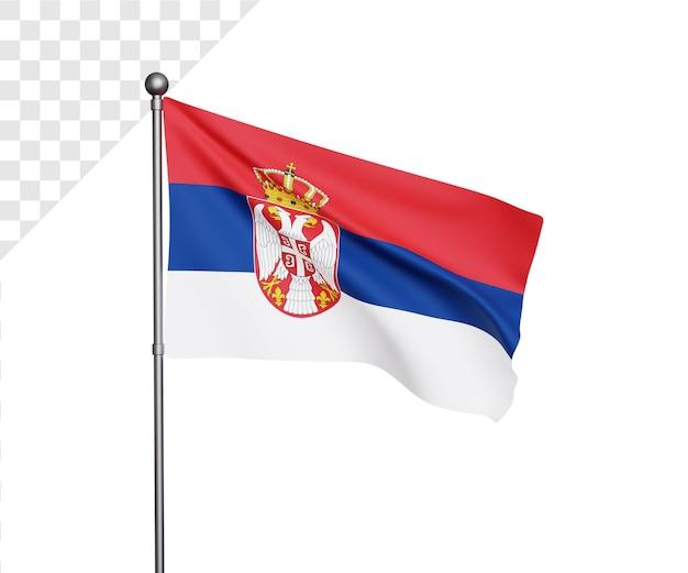 Ilustração 3d da bandeira da sérvia
