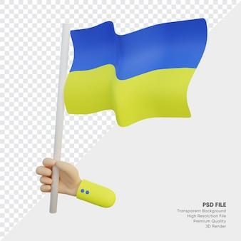 Ilustração 3d da bandeira da ucrânia com a mão segurando-a