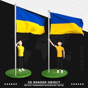 Ilustração 3d da bandeira da ucrânia com personagem de desenho animado de pessoas fofas. renderização 3d.