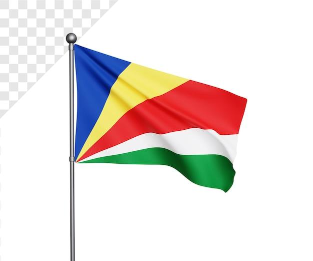Ilustração 3d da bandeira das seychelles