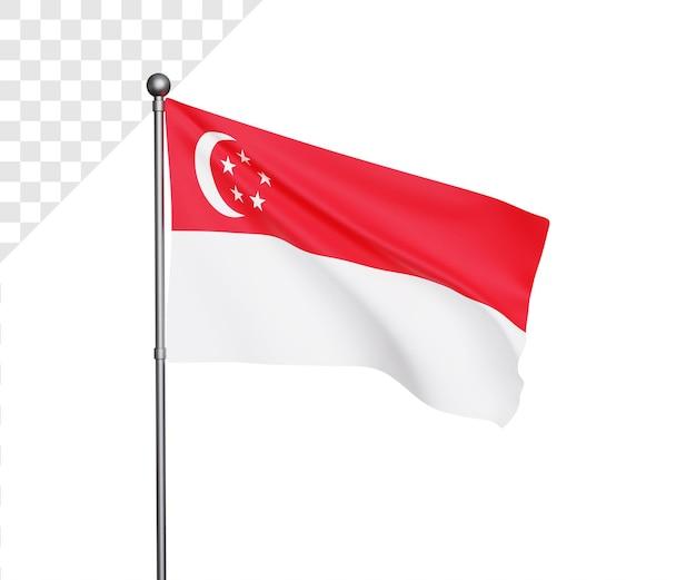 Ilustração 3d da bandeira de cingapura