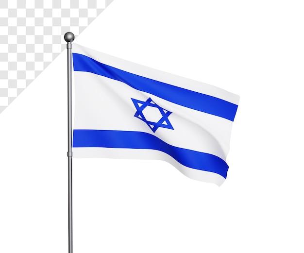 Ilustração 3d da bandeira de israel