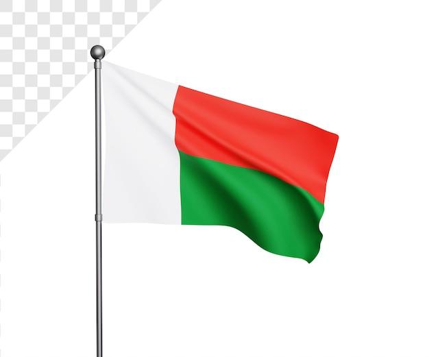 Ilustração 3d da bandeira de madagascar