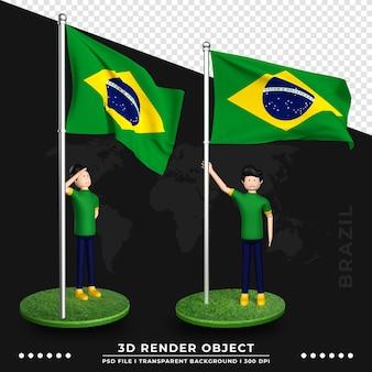 Ilustração 3d da bandeira do brasil com personagem de desenho animado de pessoas fofas. renderização 3d.