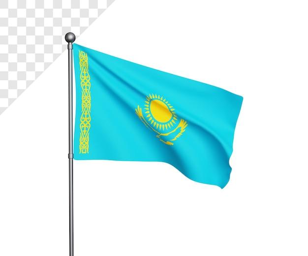 Ilustração 3d da bandeira do cazaquistão