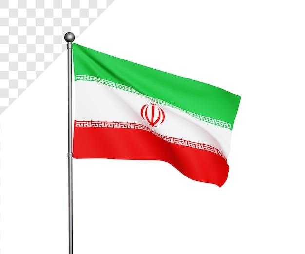 Ilustração 3d da bandeira do irã