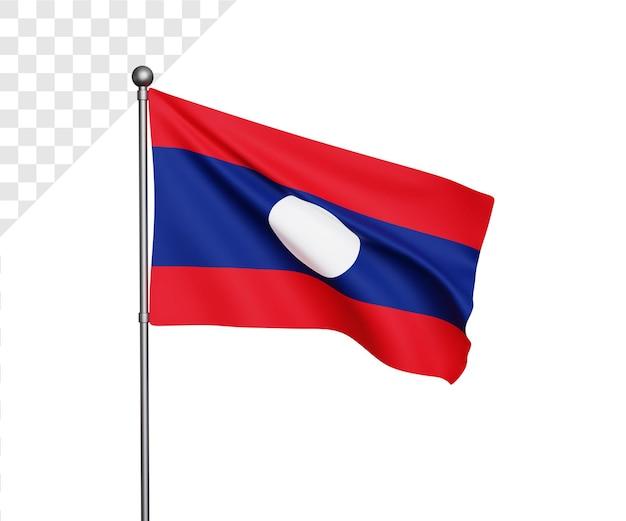 Ilustração 3d da bandeira do laos