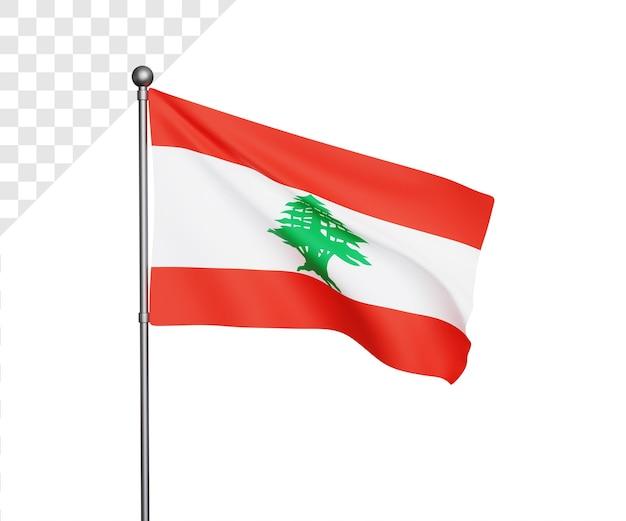 Ilustração 3d da bandeira do líbano