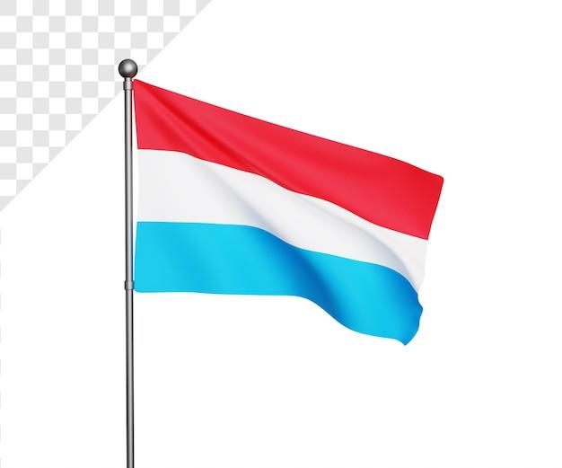 Ilustração 3d da bandeira do luxemburgo