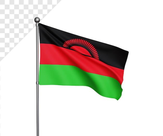 Ilustração 3d da bandeira do malawi